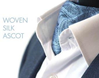 Mens Ascot Mens Cravat Woven Silk Day Cravat Ascot Tie Gift for him Gift for men