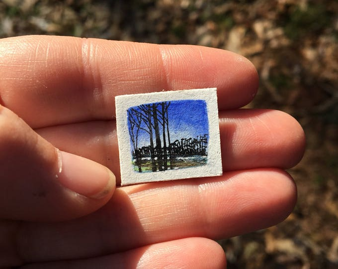 Crisp Air / original teeny tiny landscape art / unframed artwork / winter scene