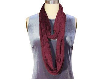 Infinity Scarf Soft Crushed Velour Many Colors Loop Cowl Made in the USA