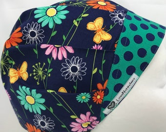 Flowers Navy Blue Surgical Cap Bouffant Scrub Hats for Women medical Scrub Tech OR Periop Nurse Blue Green Dots Lovenstitchies Orange Pink