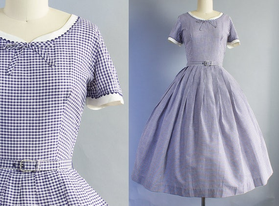1950s Navy Gingham Day Dress | Small (36B/26W)