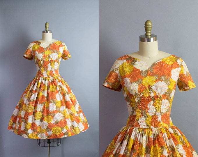 1950s Floral Cotton Dress/ Medium (36b/29w)