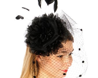 Black Large Ruffle Flower Fascinator with Birdcage Veil - Occasion Wedding Races