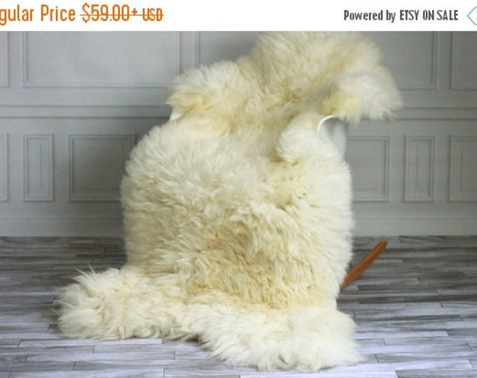 ON SALE Real, Natural, Genuine Creamy White Sheepskin Rug Scandinavian Design - 3 SIZES!
