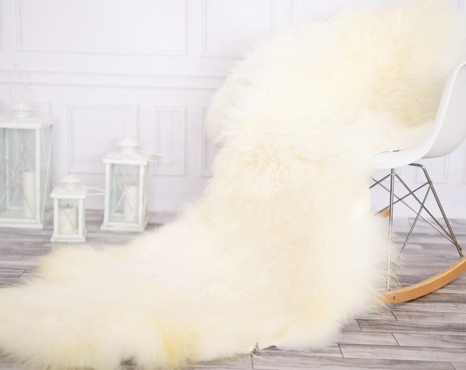 Genuine Double Sheepskin Rug Creamy White Large Sheepskin Rug Christmas Home Decor Icelandic Sheepskin