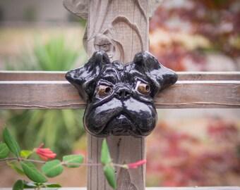 Outdoor Wall Hanging Cement Black Pug Garden Statue   Mr. Jowls