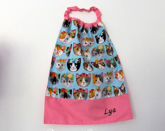 Back to school * bib, napkin, canteen, with elastic at the neck - cotton floral cats - custom