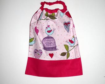 School, birthday, canteen * bib, napkin, canteen, with elastic at the neck, cotton, birds - on order