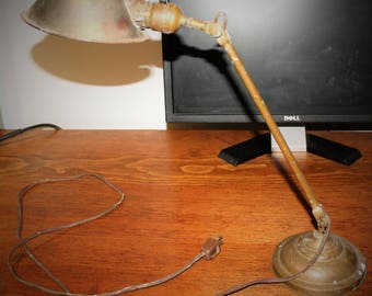 Vintage Industrial Brass Faries Desk/ Table Light/ Lamp - 1920s