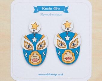 Lucha libre earrings, Mexican wrestler jewelry, lucha libre mask studs, Mexican earrings, Luchador studs, Máscaras de Peleá, Wrestler mask