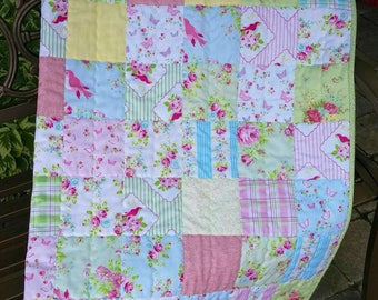 Shabby Chic Quilt, Patchwork Quilt, Lap Quilt, Throw Quilt, Cottage Chic, Floral, Pink Roses, Homemade Quilt, Sofa Throw Blanket