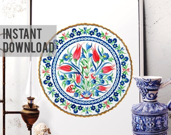 Printable Art, Red Tulip, Blue Daisy Watercolor Art, Traditional Ottoman Floral Tile Wall Art, Turkish Istanbul Flower, Digital Download 038