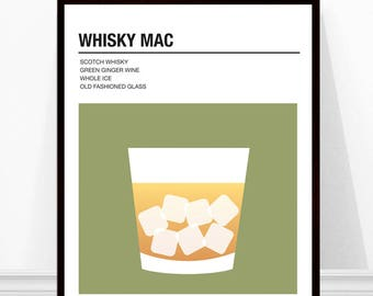 Whisky Mac Print, Vintage Cocktail Print, Cocktail Recipe Art, Alcohol Print, Whisky Mac Recipe