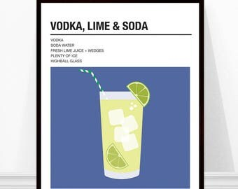 Vodka Lime Soda Print, Vintage Cocktail Print, Cocktail Recipe Art, Alcohol Print, Vodka Soda Print