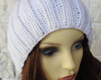 Hand Knitted Women' White Winter Hat With A Pompom In The Colours Of The German Flag - Free Shipping