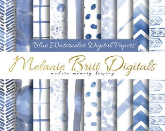 BLUE WATERCOLOR digital paper pack, blue watercolor patterns: chevron, dots, floral, stripes, arrows, plaid, printable pdf, instant download