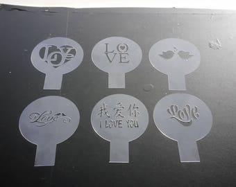 Pack of 6 valentine's day stencils. Perfect for cupcakes.