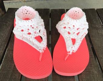 Gladiater sandals, crochet flip flops, short gladiater sandals, white sandals, crochet sandals, womens sandals