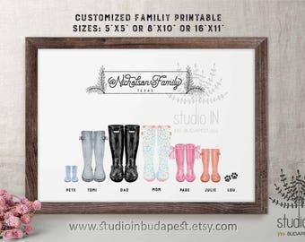 Customized wellington boots print, printable wellies, custom housewarming gift, family boots printable, rain boots printable
