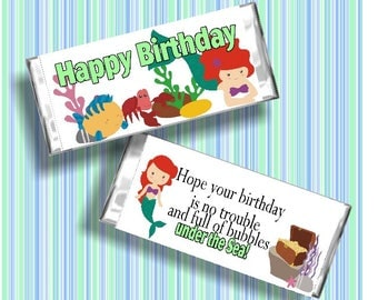 Little Mermaid Birthday Candy Bar Wrapper Printable