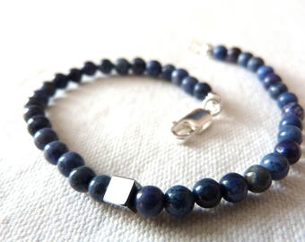 Bracelet, Silver 925 and natural stones / mens blue natural stones Bracelet
