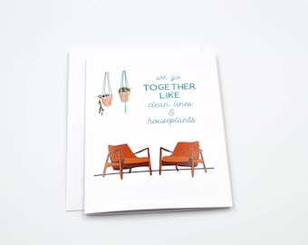 hipster valentines day card - funny love card - funny anniversary card - trendy card - soulmate card - paper goods - mid century art
