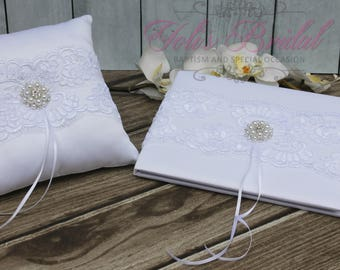 FAST SHIPPING!! Guest Book and Ring Pillow Set, White Guest Book, Vintage Guest Book, Wedding Guest Book, Ring Bearer Pillow