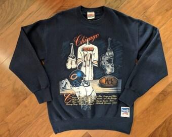 Vintage NFL Football Chicago, Illinois Bears Crewneck Team Sweatshirt, Men's Size Medium, Made In USA by Nutmeg - Blue/Orange