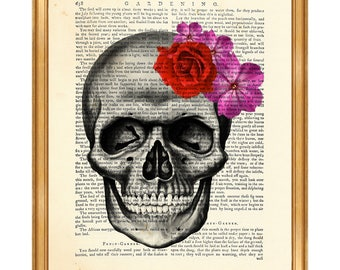 Anatomy Art, Anatomy Gift, Anatomy Print, Skull With Flowers Skeleton DICTIONARY ART PRINT, Vintage Page, Gift For