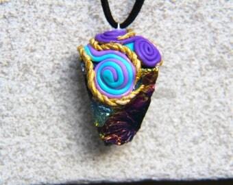 Handmade Clay Angel Aura Crystal Necklace Rave EDM Music Festival
