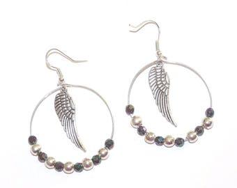 Earrings ' hoop 925 Sterling Silver earrings with wing and silver/black beads