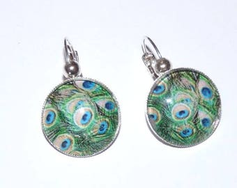 Silver Stud Earrings cabochon green Peacock feather