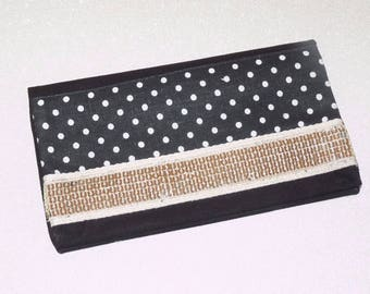 Band Black checkbook cover with polka dots, glitter sequins gold and Black canvas