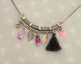 Necklace plastron tone pink/black/grey with beads, tassel charms
