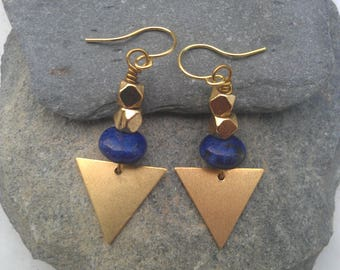 Lapis lazuli earrings. brass triangle earrings, tribal earrings, triangle earrings, brass triangle earrings, geometric earrings