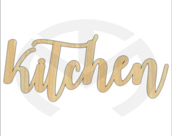 Unfinished Wood Calligraphy Script Word Kitchen Laser Cut, Large Sizes, Home Decor, Farmhouse