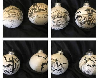 Fear and Loathing in Las Vegas - Christmas Ornament Set - Hunter S Thompson - Ralph Steadman - Too Weird to Live Too Rare to Die