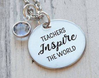 Teachers Inspire the World Personalized Engraved Necklace
