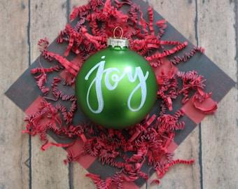 Christmas Ornament   Joy   Calligraphy   Green & White