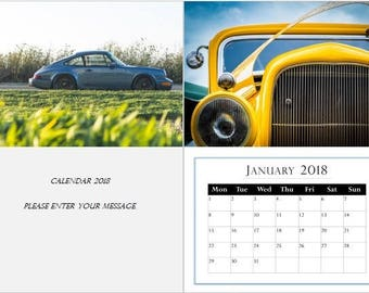 Cars, Motorbikes Personalised Photo Calendar, 2018, A4, A3 with your photos, unusual gift, collectibles, classic, sports cars (Ayana)