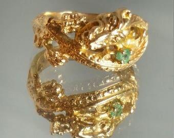 ON SALE 14K Solid Yellow Gold Custom Emerald Dragon Ring Retro Vintage