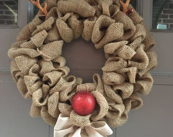 Reindeer Wreath, Christmas Wreath, Holiday Wreath, Winter Wreath, Rudolph Wreath