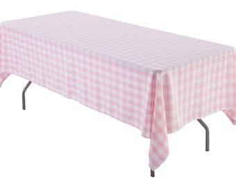 60 X 120 Inch Pink And White Gingham Rectangular Tablecloth Polyester    Gingham Checkered Banquet Tablecloth