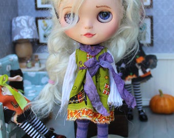 """Blythe Outfit Witchy Tattered Halloween Dress Witch Hat Headband and Socks For Neo Blythe 12"""""""