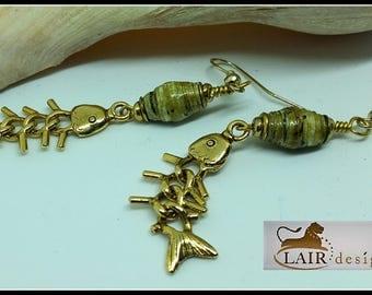 Paper Bead & Fish Dangle Earrings