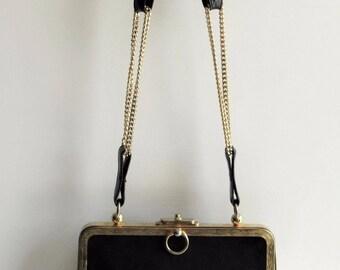 Vintage Harry Rosenfeld Elegant High-End Black Suede Gold Trim Chain Evening Purse In EUC