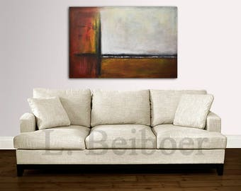 24 x 36 Original abstract painting modern art large red brown contemporary acrylic painting raw art decor wall art