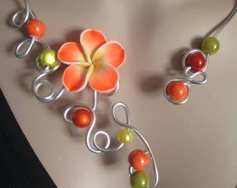 "Necklace + earrings ""Naranja"" flower and orange porcelain beads"