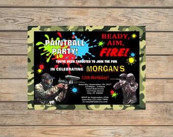 Paintball Party Invitation, Printable Paint Ball Birthday Party Invitation, Digital File