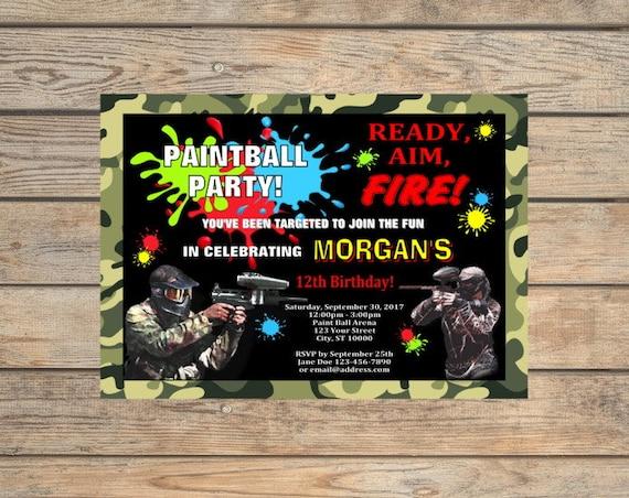 Paintball Party Invitation, Printable Paint Ball Birthday ...